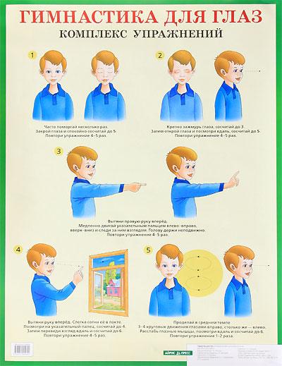 Гимнастика для глаз. Комплекс упражнений. Наглядное пособие для начальной школы