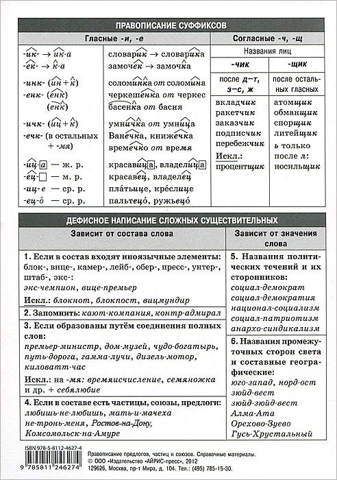 Правописание существительных. Таблица