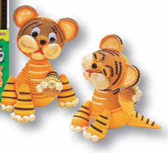Два тигренка (78 полосок гофрокартона)