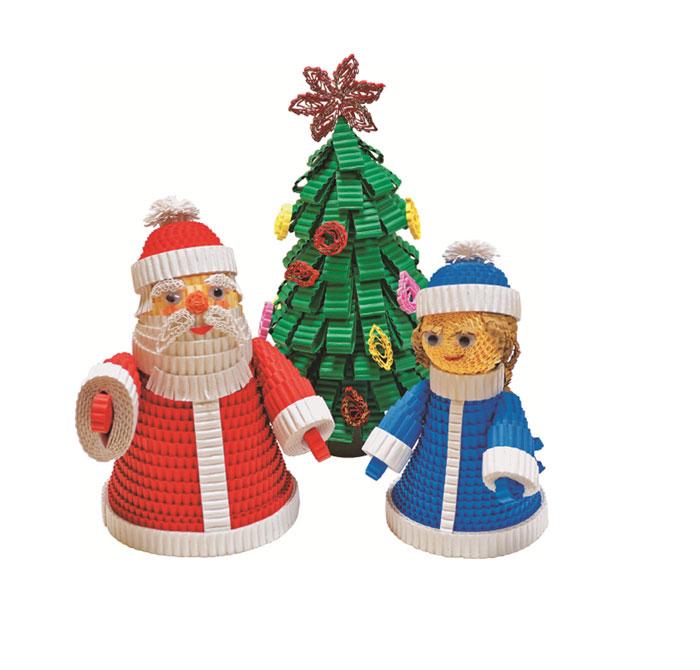 Дед Мороз, Снегурочка и Елочка (78 полосок гофрокартона)