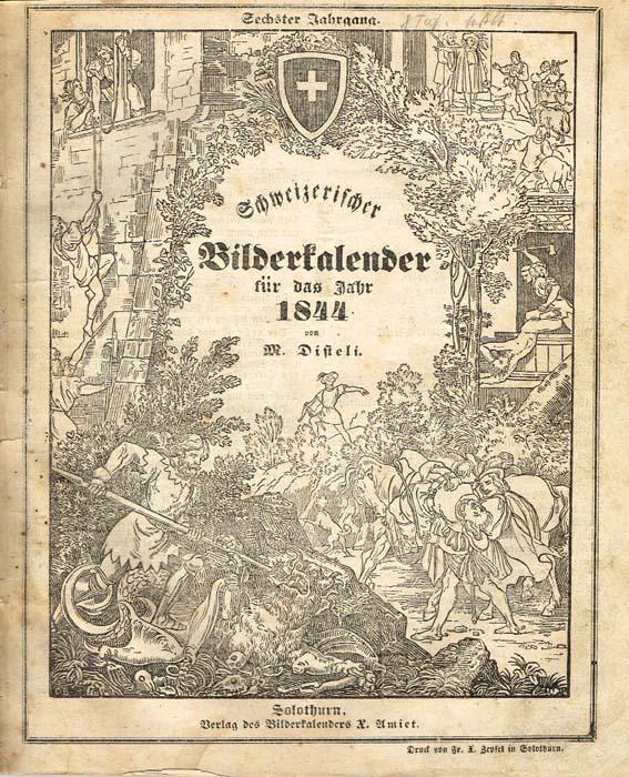 Швейцарский иллюстрированный календарь 1844 года54293На немецком языке. Солотурн, 1844 год. Verlag des Bilderkalenders X. Amiet. Со множеством литографий, ксилографией, календарем. Оригинальная обложка. Сохранность хорошая. На обложке в верхнем правом углу владельческие пометы карандашом. Издание представляет собой иллюстрированный календарь 1844 года, изданный в швейцарском городе Солотурн и включающий множество публикаций, сатирических и политических карикатур, объявлений, статей и стихотворений. Кроме того, в календарь включена обширная статья, посвященная Бургундским войнам 1474-1477 гг. и их последствиям. Автор иллюстраций и составитель швейцарский художник-карикатурист Мартин Дистели (Martin Disteli; 1802 - 1844). Издание не подлежит вывозу за пределы Российской Федерации.