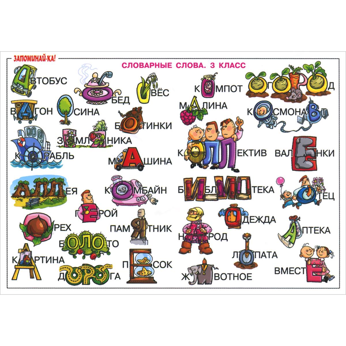 Русский язык. 3 класс. Словарные слова. Плакат