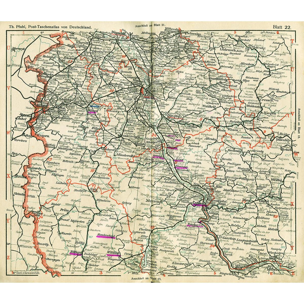 Post-Taschen-Atlas von Deutschland nebst Ortsverzeichnis