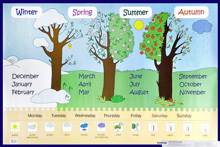 Seasons. Months. Days of The Week / Времена года. Месяцы. Дни недели. Наглядное пособие для начальной школы