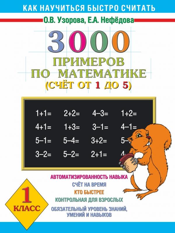 Математика. 1 класс. 3000 примеров. Счет от 1 до 512296407Книга предназначена для обучения счету детей четырех-семи лет. Цель пособия - помочь ребенку распознавать числа от 1 до 5, свободно выполнять сложение и вычитание в этих пределах. Материал расположен по принципу от частного к общему. Вначале ребенок учится пересчитывать, складывать, вычитать отдельные предметы и группы предметов, постепенно подходя к понятию абстрактного числа. В книге множество примеров, которые учат работать с числами без предметного подкрепления. Большое внимание уделено правописанию цифр. Ребенок сначала запоминает внешний вид цифры, а затем пробует ее писать. Чтобы ученик не испытывал затруднений в первом классе, желательно, чтобы счёт в пределах 1-5 был доведен у него почти до автоматизма, то есть ответ на пример он смог бы записать в течение 2-4 секунд. Хороших результатов ребенок добьется только в том случае, если будет много считать. Однако следует помнить, что время занятия не должно превышать 15 минут. Не ругайте его за медлительность, а...