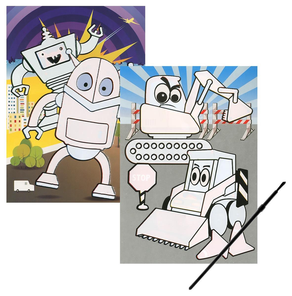Роботы. Тракторы. Многоразовая водная раскраска (+ кисточка)