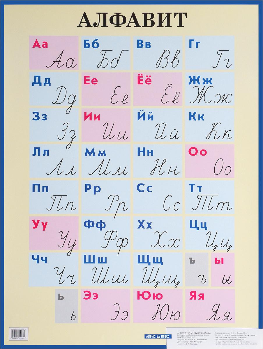 Алфавит. Печатные и рукописные буквы. Наглядное пособие для начальной школы