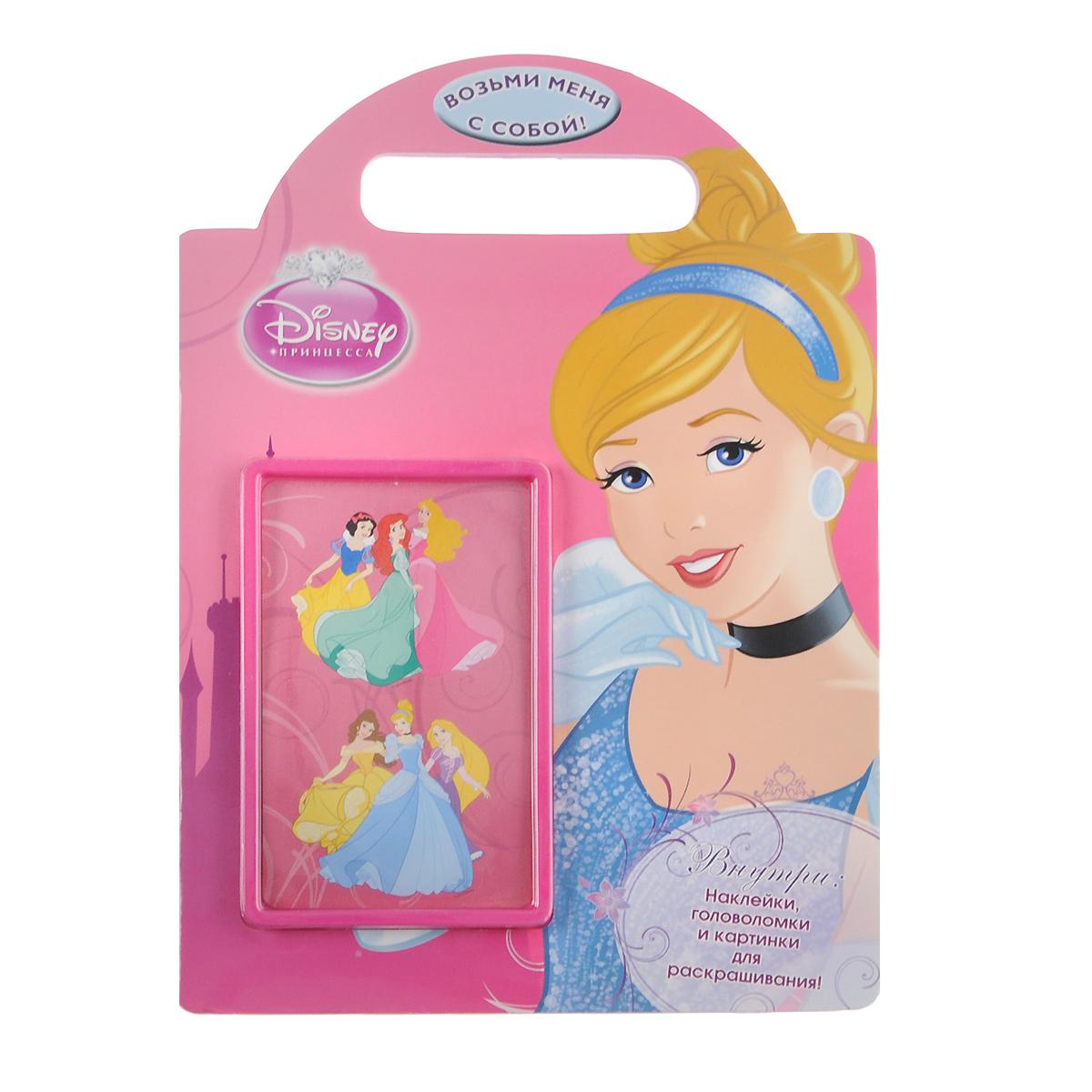 Принцессы. Развивающая книжка с наклейками12296407Присоединяйся к принцессам Disney и проведи время по-королевски! В этой книге юным читательницам предстоит выполнить увлекательные задания - нарисовать собственную корону и помочь Золушке вернуться домой до полуночи, сыграть в прятки с Белоснежной, а также многое другое! С помощью удобной ручки книгу можно взять с собой и весело провести время в любом месте! Книжка с вырубкой.
