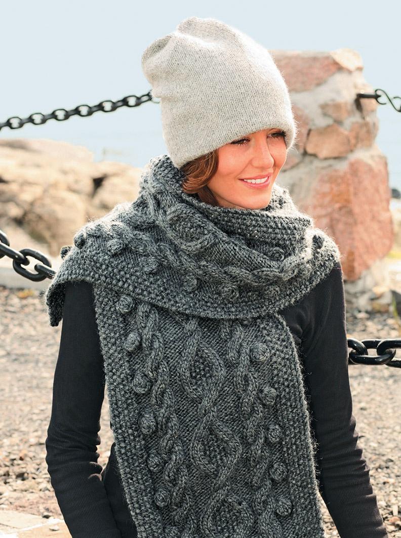 Модный шарф вязание на спицах