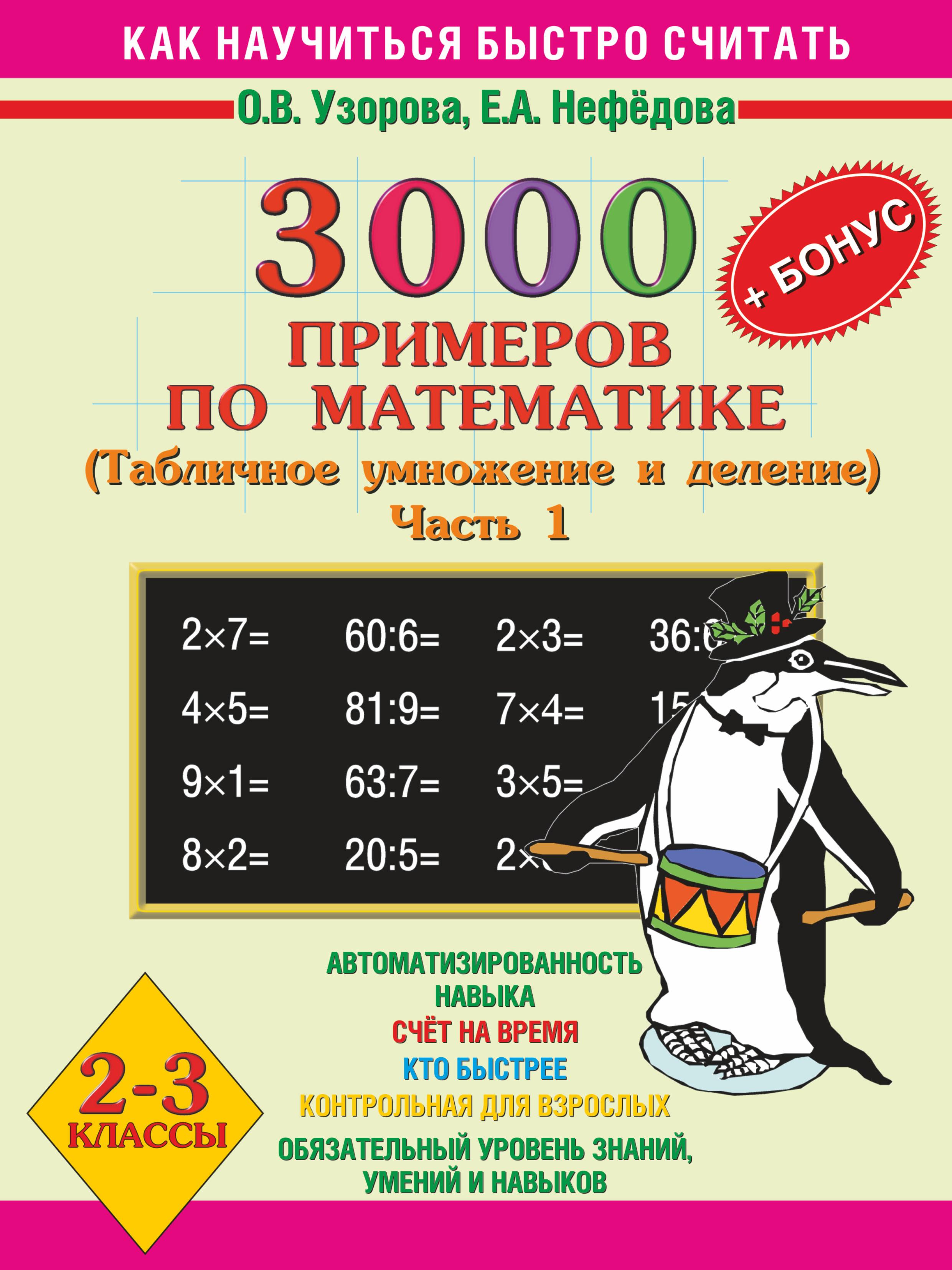 Как научиться быстро считать. 2-3 классы. 3000 примеров по математике (Табличное умножение и деление). Часть 1