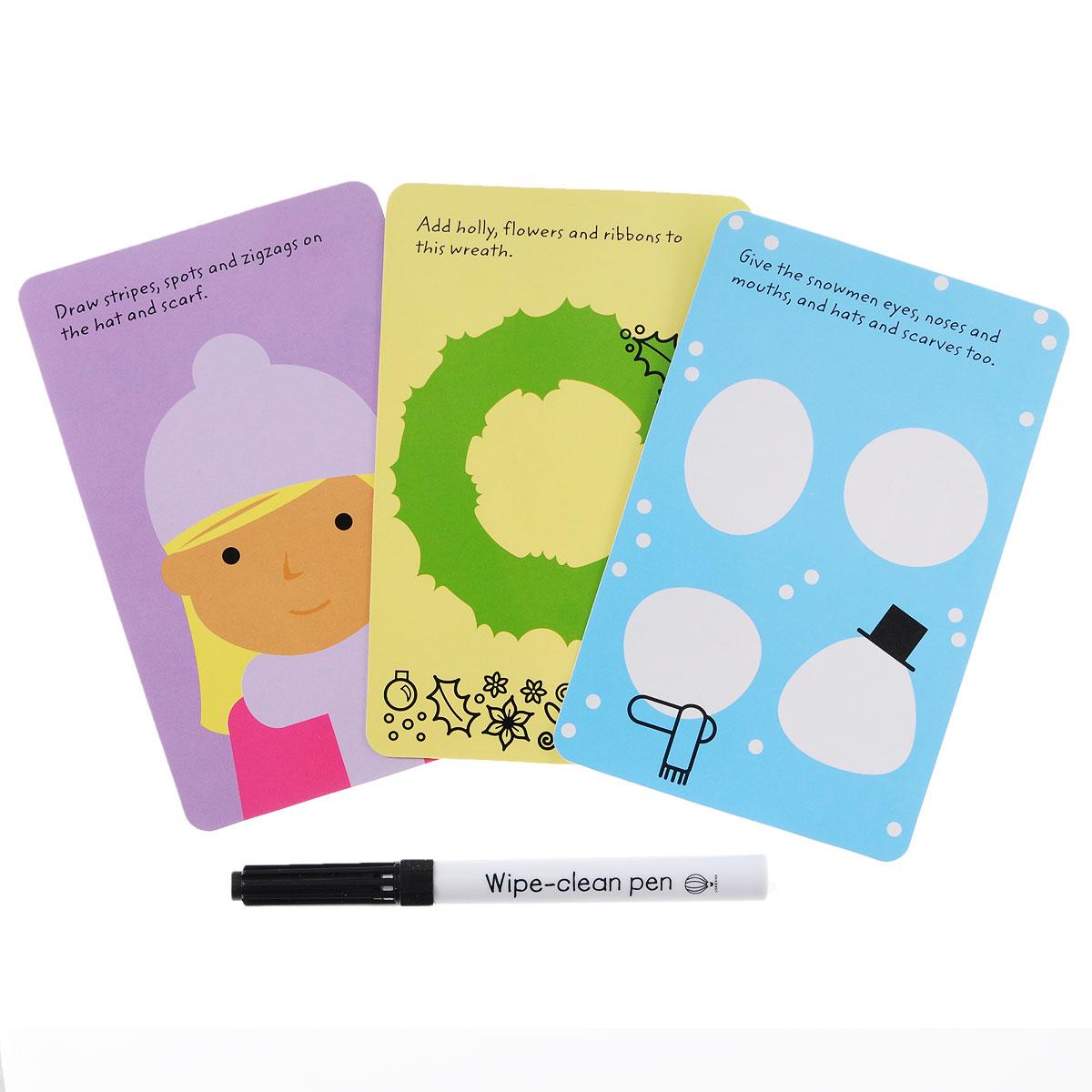 Christmas Doodles: 50 Wipe-clean Card witn Pen (набор из 50 карточек + маркер)