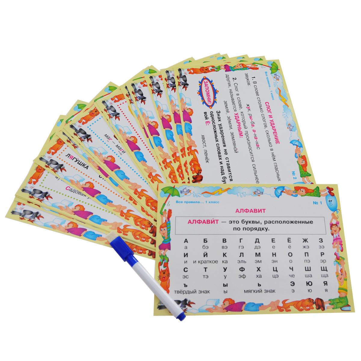 Русский язык. 1 класс. Все правила учебной программы (набор из 16 карточек)