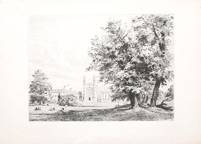 """""""Кембридж"""" . Офорт. Великобритания, 1879 год"""
