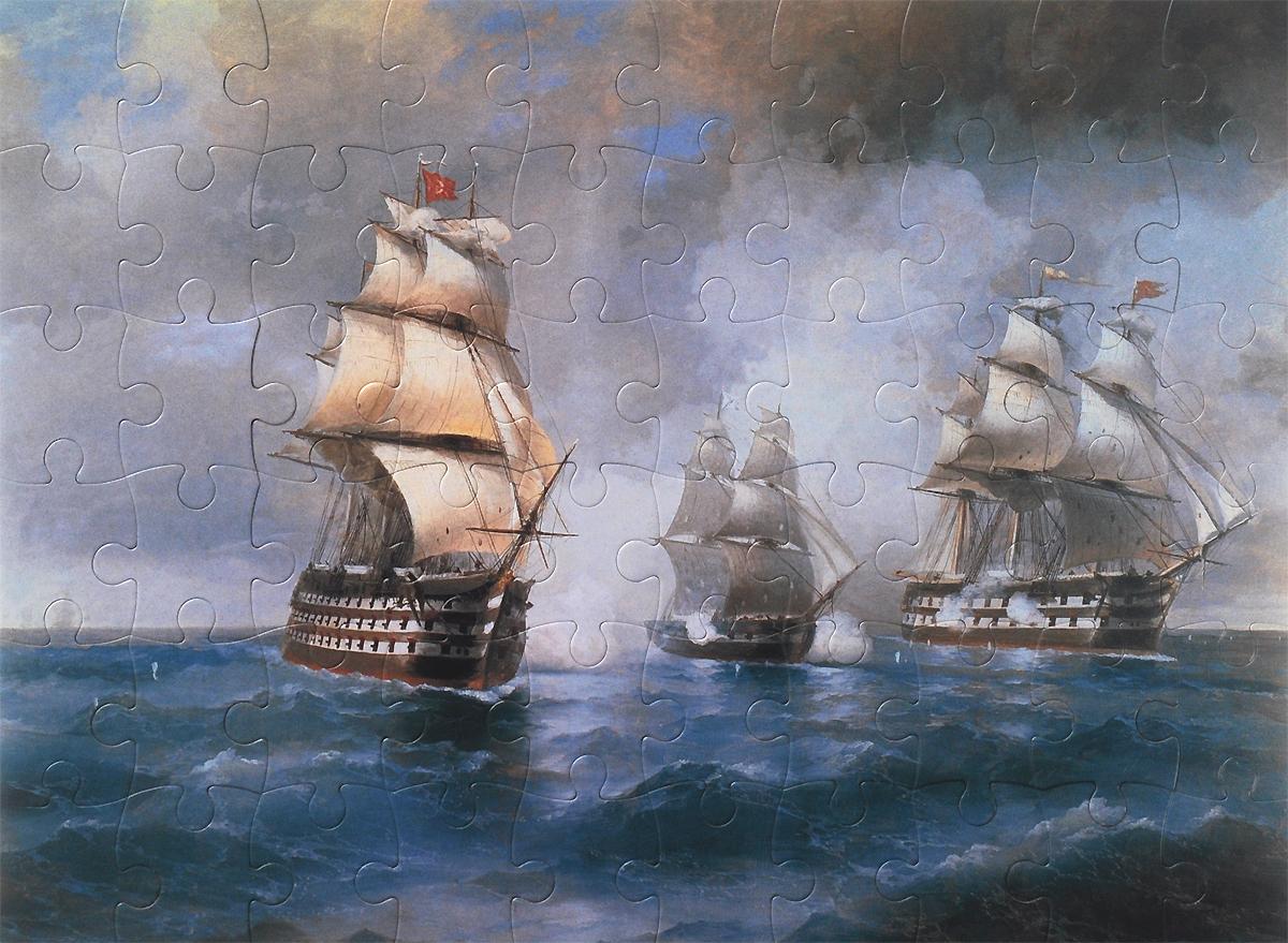 Иван Айвазовский. Бриг «Меркурий», атакованный двумя турецкими кораблями. 1892. Пазл, 60 элементов