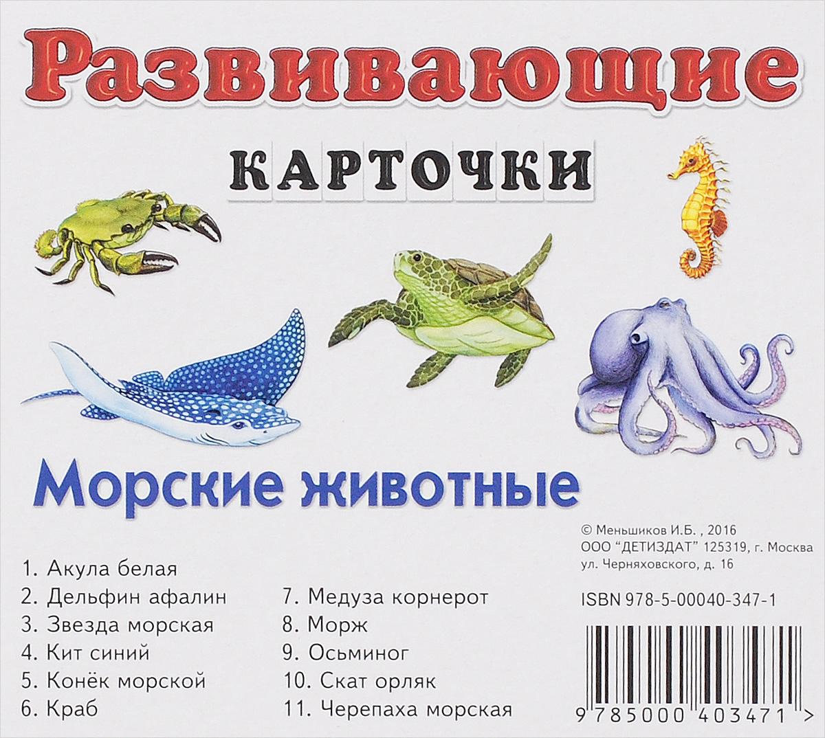 Морские животные. Развивающие карточки (набор из 11 карточек)