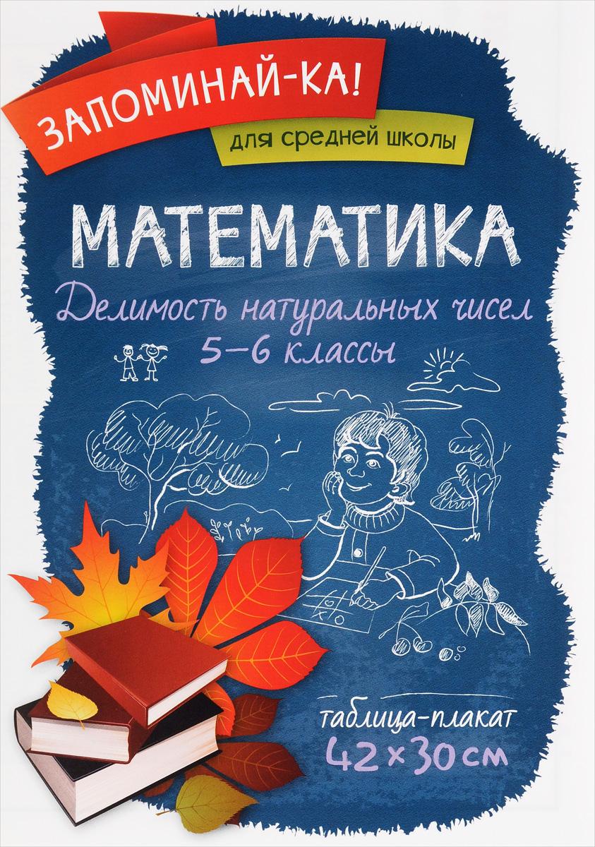 Математика. 5-6 классы. Делимость натуральных чисел. Таблица-плакат