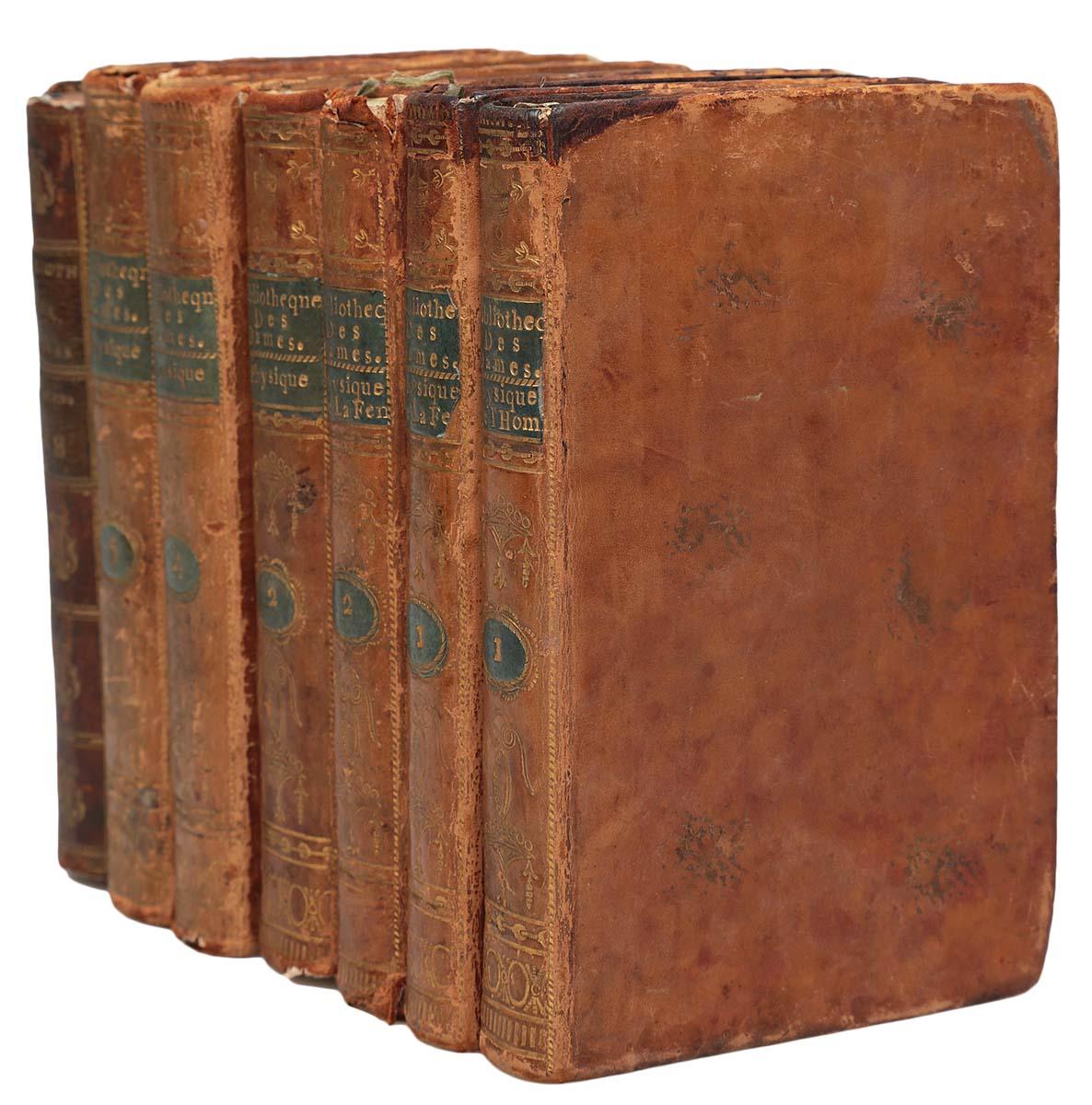 Bibliotheque Universelle Des Dames (комплект из 7 книг)ПК301004_лимонный, салатовыйПариж, 1787-1792 гг. Rue et Hotel Serpente. Владельческие цельнокожаные переплеты с золотым тиснением на корешке. Сохранность хорошая. В серии Универсальная библиотека для дам (1785-1797) вышло около 156 томов. Универсальная библиотека для дам дам была задумана как собрание работ, позволяющее обеспечить общее образование, в легко доступной форме для женщин определенного класса; в серии можно было найти все, что может представлять полезные и нужные знания: путешествия, история, философия, художественная литература, наука и искусство. Издание не подлежит вывозу за пределы Российской Федерации.