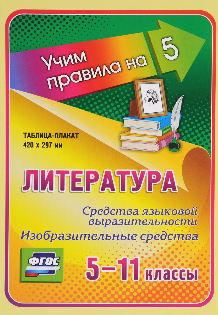 Литература. Средства языковой выразительности. Изобразительные средства. 5-11 классы. Таблица-плакат