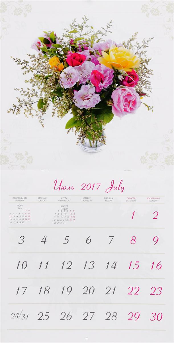 Календарь 2017 (на скрепке). Цветы на белом / Flowers on White