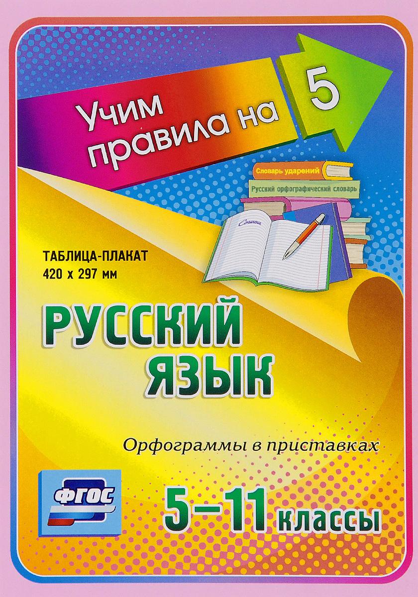 Русский язык. Орфограммы в приставках. 5-11 классы. Таблица-плакат