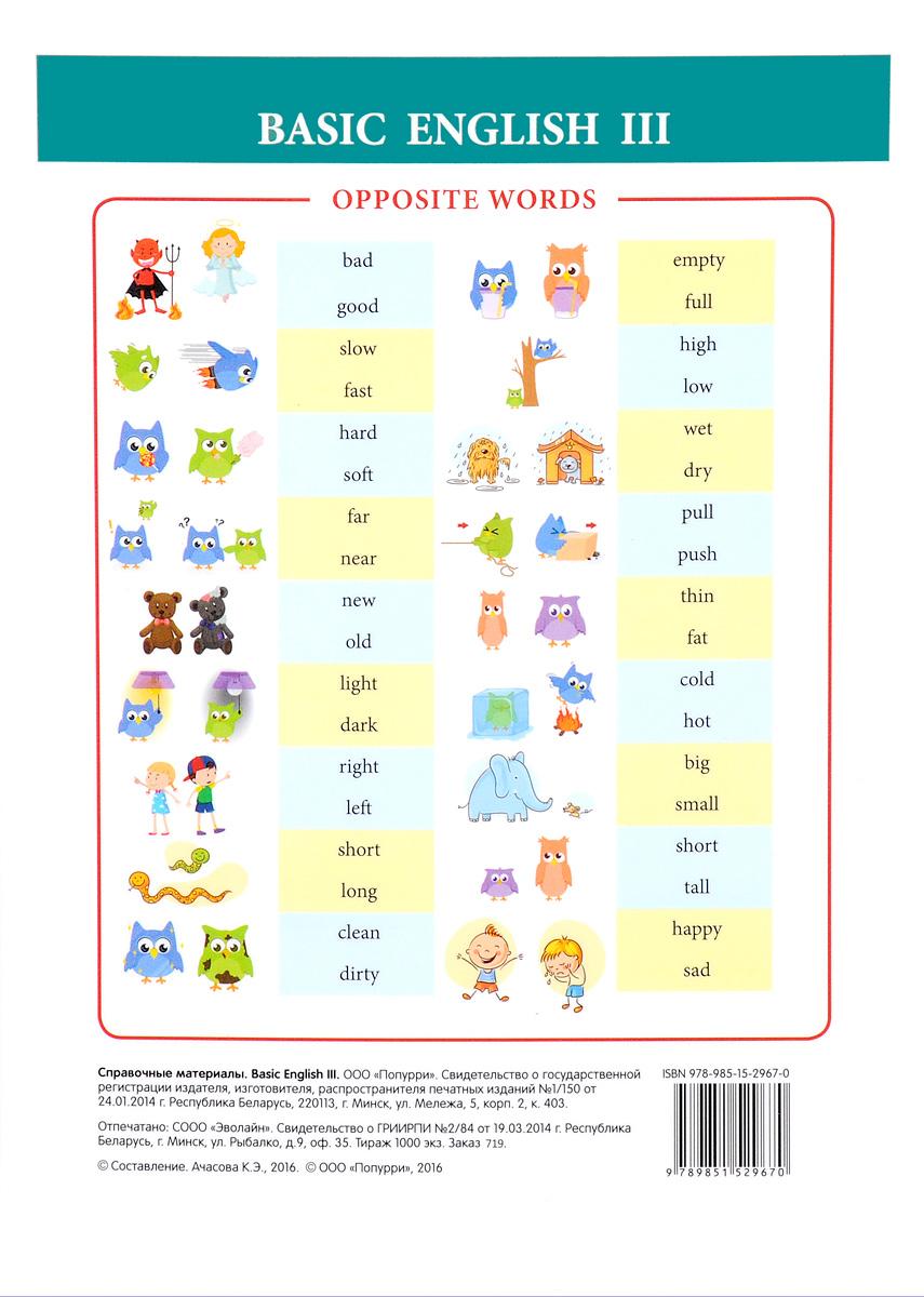 Basic English III. Справочные материалы