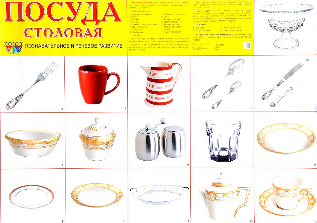 Демонстрационные плакат Посуда столовая