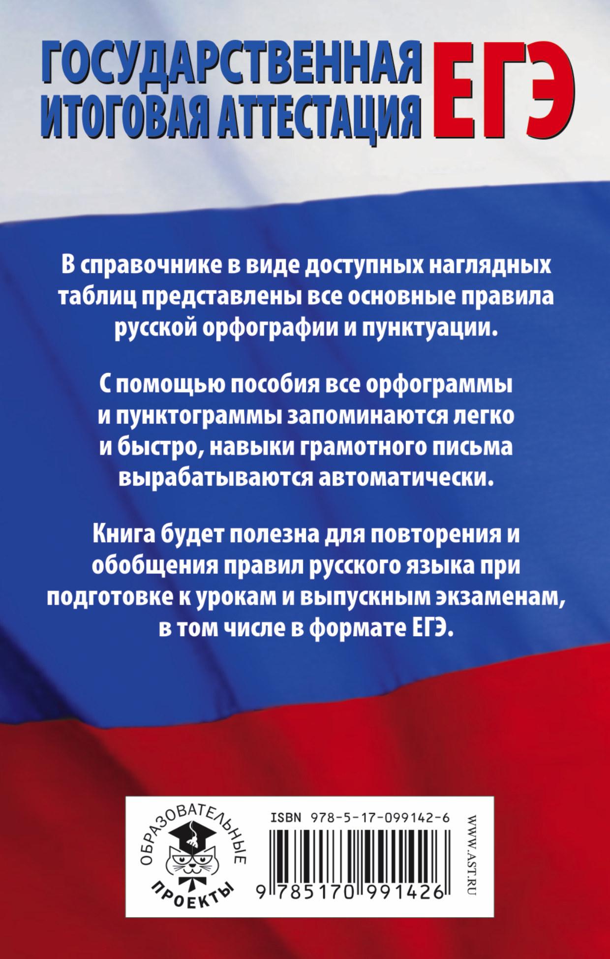 ЕГЭ. Русский язык в таблицах. 10-11 класс