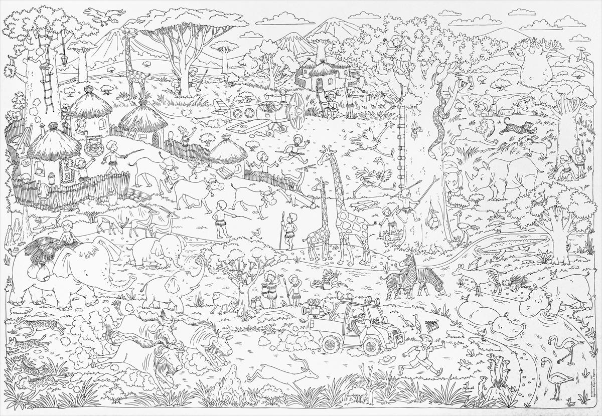 Саванна. Большая карта-раскраска