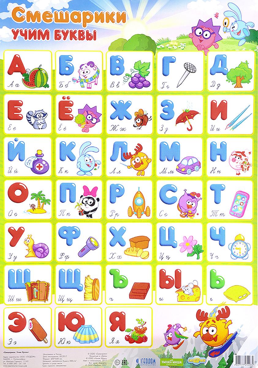 Смешарики. Учим буквы. Плакат
