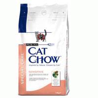 """Корм сухой Cat Chow """"Sensitive"""" для кошек с чувствительным пищеварением и кожей."""