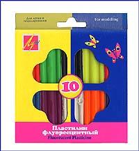 Пластилин флуоресцентный. 10 цветов12С 766-08Пластилин легко формируется, не прилипает к рукам, высокопластичен и имеет яркие насыщенные цвета.