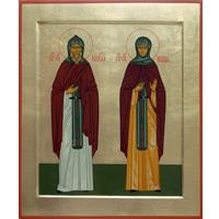 Преподобные Кирилл и Мария Радонежские. 16 х 19 см