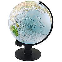 Глобус с физической картой мира. Диаметр 30 смPGL1150Глобус с физической картой мира на удобной подставке, вращается вокруг собственной оси. Изготовлен из высококачественного пластика. Яркие цвета и точная картография. Все географические обозначения даны на русском языке.