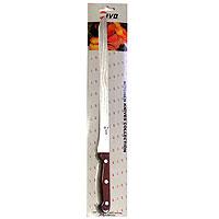 Нож для нарезки ветчины Ivo. 1201412014Нож для нарезки ветчины Ivo займет достойное место среди аксессуаров на вашей кухне. Нож выполнен из стали. Длинный нож с эргономичной пластиковой ручкой поможет Вам без особого труда нарезать ветчину. Для Компании Ivo характерно использование последних технологических разработок. Тщательно отобранное сырье и прекрасный дизайн ножей от Ivo отвечает интересам самых требовательных покупателей, а также профессиональных поваров. Чтобы соответствовать этому стандарту, для изготовления ножей была выбрана сталь высочайшего качества. Отличительная особенность ножей фирмы - это безукоризненно острое лезвие, не нуждающееся в заточке. Уход за ножами очень прост! Для поддержания ножей в рабочем состоянии достаточно 1 раз в месяц обработать край лезвия мусатом (специальным точилом). Для чистки ножей подойдут неабразивные моющие средства.