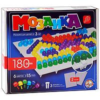 Мозаика, 180 фишек0967Мозаика - увлекательная развивающая игра для ваших детей. Она разовьет у ребенка творческие способности, воображение, координацию движений, мелкую моторику рук и ориентировку на плоскости. В комплект входит 180 фишек шести цветов, 2 игровых поля и три фишки для соединения полей. Рисунки, представленные на упаковке, являются только примером, так как эта универсальная мозаика раскрывает перед ребенком неограниченные возможности моделирования и создания множества своих собственных рисунков.