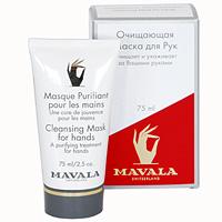 Маска очищающая Mavala для рук, с перчатками, 75 мл07-147Маска оказывает моментальный эффект лечебного, отбеливающего и омолаживающего действия на сухую и поврежденную кожу рук. В состав входит аллантоин, хорошо известный своими целебными свойствами, растительные экстракты мальвы, огурца и мелисы, которые удаляют из кожи загрязнения, освежают и подтягивают ее, а также экстракт алое вера, который успокаивает и смягчает кожу. Способствует быстрому обновлению клеток. Применяйте маску раз в неделю с легким массажем рук. Оставьте ее на руках на 10 минут, после чего смойте водой. К маске прилагаются комплект одноразовых полиэтиленовых перчаток.