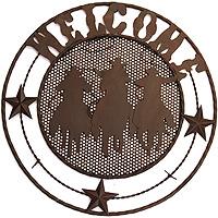 Декоративное настенное панно Welcome16454Декоративное настенное панно Welcome, выполненное из металла, позволит Вам украсить интерьер дома, рабочего кабинета или любого другого помещения оригинальным образом. На панно предусмотрена специальная петля для подвешивания. С таким панно Вы сможете не просто внести в интерьер своего дома элемент необычности, но и создать атмосферу в стиле вестерна.