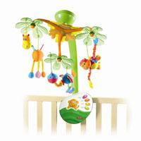 Музыкальный мобиль Остров сладких грез1300807578Музыкальный мобиль Остров сладких грез - оригинальная музыкальная игрушка, предназначенная для детей с рождения. Мобиль надежно крепится к кроватке ребенка и создает атмосферу уюта и спокойствия в детской комнате. Под приятные звуки природы, Баха и Моцарта на мобиле медленно вращаются обезьянка, жираф и попугайчик. В общей сложности музыка звучит 20 минут. Мобиль имеет регулятор громкости, благодаря которому Вы сможете отрегулировать громкость звучания, и пульт дистанционного управления. Также мобиль можно использовать как ночник. Подвесные игрушки привлекают внимание ребенка, помогают развитию зрения и цветового восприятия, а различные мелодии развивают звуковое восприятие.