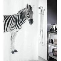 Штора Zebra Black, 180 х 200 см1011554Штора для ванной комнаты Zebra с изображением зебры изготовлена из текстиля с гидрофобной пропиткой. В верхней кромке шторы сделаны отверстия для колец. Штору можно стирать в стиральной машине. Нижний шов шторы отяжелен специальным шнуром. Шторы от компании Spirella отличает яркий, красочный дизайн рисунков и высокое качество (гарантия на изделие 3 года). Сделайте вашу ванную комнату еще красивее! Характеристики: Материал: 100% полиэстер. Размер: 180 см х 200 см. Производитель: Швейцария. Изготовитель: Китай. Артикул: 1011554.