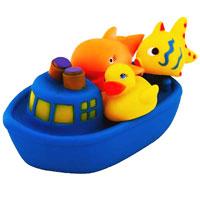 Набор игрушек для ванной Веселое путешествие, цвет: синий25077Набор игрушек для ванной Веселое путешествие, изготовленный из прочного безопасного материала, состоит из парохода и расположившихся на его палубе уточки, рыбки и кита. На уточке, рыбке и ките есть специальные отверстия, с помощью которых они будут брызгаться. Игрушки порадуют малыша и превратят купание в удовольствие, а игра с ними поможет развить мелкую моторику рук, воображение и концентрацию внимания.