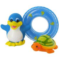 Набор игрушек для ванной Веселое купание: пингвин, черепаха25082Набор игрушек для ванной Веселое купание, изготовленный из прочного безопасного материала, состоит из черепашки, пингвинчика и пластикового спасательного круга. На игрушках есть специальные отверстия, с помощью которых они будут брызгаться. Игрушки порадуют малыша и превратят купание в удовольствие, а игра с ними поможет развить мелкую моторику рук, воображение и концентрацию внимания.
