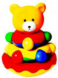 Игрушка-пирамидка Мишка-топтыжка27009Игрушка-пирамидка Мишка Топтыжка обучает ребенка, развивает мышление, внимание, воображение, зрительное и цветовое восприятие, координацию движений. В своем основании игрушка имеет волчок. Игрушка-неваляшка. Игрушку достаточно мыть горячей водой с мылом, тщательно ополаскивая, рекомендуется вымыть перед первым использованием.