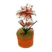Денежный цветок Расцвет бизнеса рубли89967Настольная композиция выполнена в виде симпатичного денежного цветка. На пластиковое основание цветка насажены миниатюрные купюры-дубли достоинством в 5000 рублей. Цветок закреплен в стеклянном стакане-горшочке, оформленном текстильной сеткой. У основания цветка расположена забавная божья коровка.