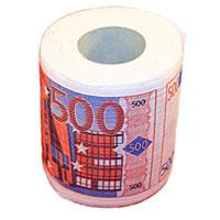 Туалетная бумага 500 евро01016Туалетная бумага 500 евро - оригинальный сувенир для людей, ценящих чувство юмора. Бумага оформлена иллюстрацией купюры 500 евро. Рулон имеет стандартный размер и упакован в пленку.