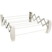 Сушилка для белья Teleclip, цвет: белый83303Сушилка для белья Teleclip белого цвета - это настенная складная вешалка для просушивания белья в ванной комнате, кухне или балконе. Сушилка имеет 8 пластиковых струн (длиной 52 сантиметра каждая), которые выдерживают половину стандартной загрузки стиральной машины после стирки и отжима (2-2,5 килограмма первоначального белья). Сушилка надежно крепится к стене. В комплект входят крепежные элементы. Характеристики: Материал: пластик, металл. Размер сушилки: 60 см х 19,5 см х 11 см. Цвет: белый. Производитель: Германия. Артикул: 83303. Немецкий концерн Leifheit - ведущий европейский производитель предметов домашнего обихода и кухонных принадлежностей. Leifheit - это оригинальные разработки, современный дизайн и гарантированное качество товара. Продукция Leifheit: неэлектрические бытовые приборы и предметы домашнего обихода, кухонные принадлежности, термосы, сушилки для белья напольные и настенные, гладильные доски, покрытия для гладильных...