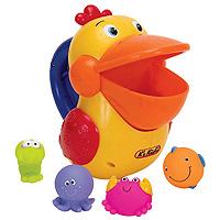Игровой набор для ванны Голодный пеликанKA422Игровой набор для ванны Голодный пеликан состоит из пеликана и четырех маленьких фигурок морских обитателей (краб, рыбка, креветка, осьминог). На пеликане расположена ручка с кнопкой, нажимая на которую, он открывает или закрывает рот. Ваш малыш при помощи пеликана будет ловить морских обитателей, а они тем временем будут, проскальзывать через отверстие, внизу игрушки, обратно в воду. Набор Голодный пеликан развивает у ребенка координацию движений, моторику, логику и цветовое восприятие.