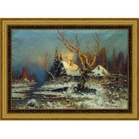 Арт-постер в багете Зимний пейзаж с избушкой (Ю.Ю. Клевер), 30 x 40 см
