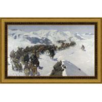 Переход князя Аргутинского через Кавказский хребет (Ф.А. Рубо), со светлой рамкой, 25 x 40 см