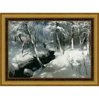 Ручей в лесу (А. Шильдер), со светлой рамкой, 50 x 40 см29x40 OZ126-504011Художественная репродукция картины А. Шильдера Ручей в лесу. Размер постера: 50 см x 40 см. Артикул: 29x40 OZ126-504011.