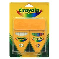 Набор школьных мелков Crayola98268Набор школьных мелков Crayola состоит из 12 белых мелков, 12 разноцветных мелков и губки для стирания. Мелки не рассыпаются, не образуют пыль и не создают аллергических реакций.